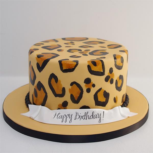 Peachy Leopard Print Cake For 8 Sugar Rush Cakes Funny Birthday Cards Online Elaedamsfinfo