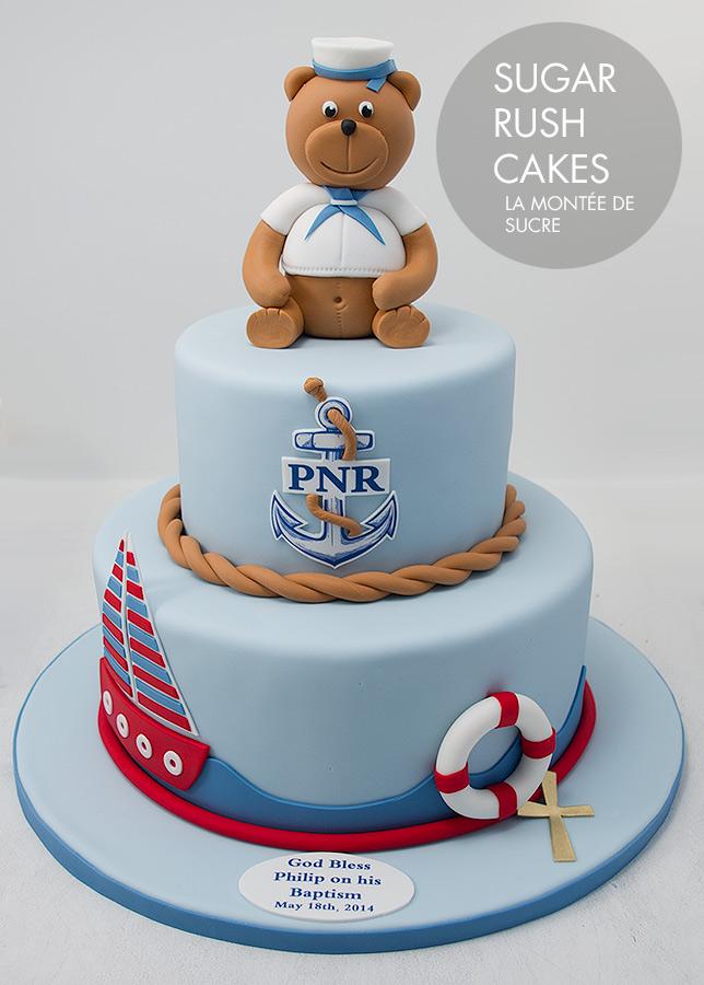 Brown bear boat cake