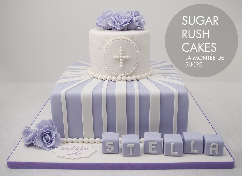 Violet baptism cake
