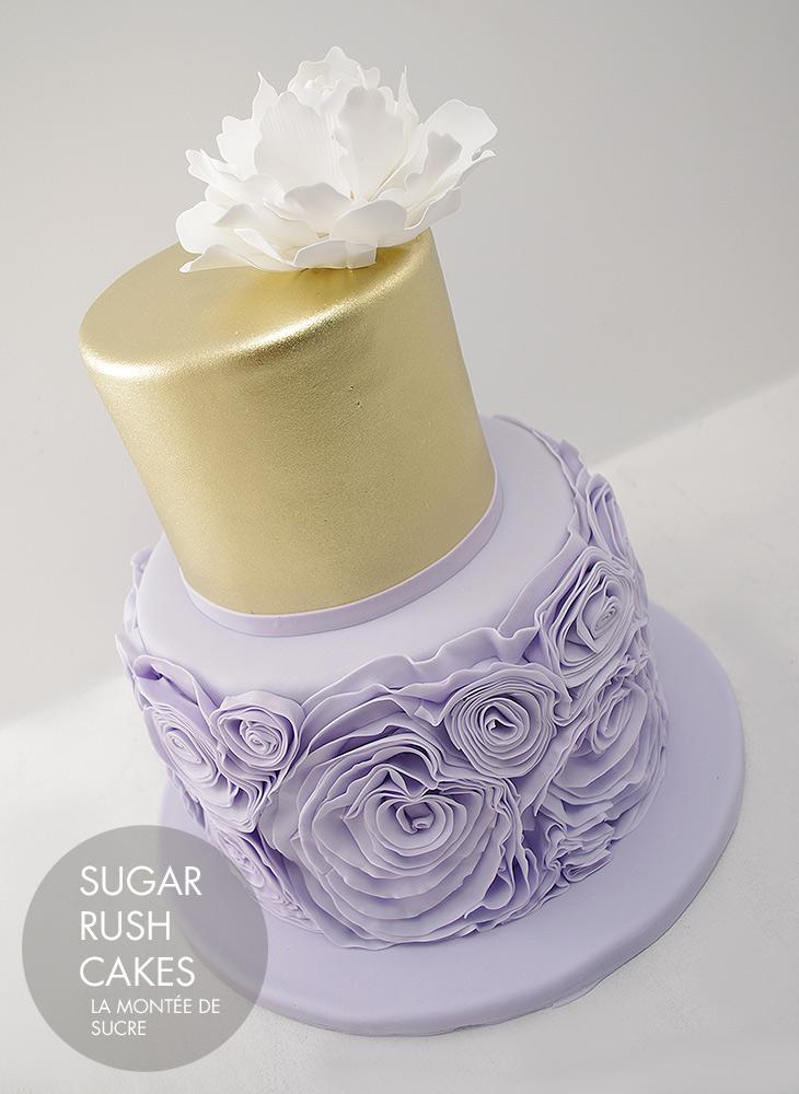 Gold ruffle wedding cake