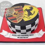 sports car emblem cake