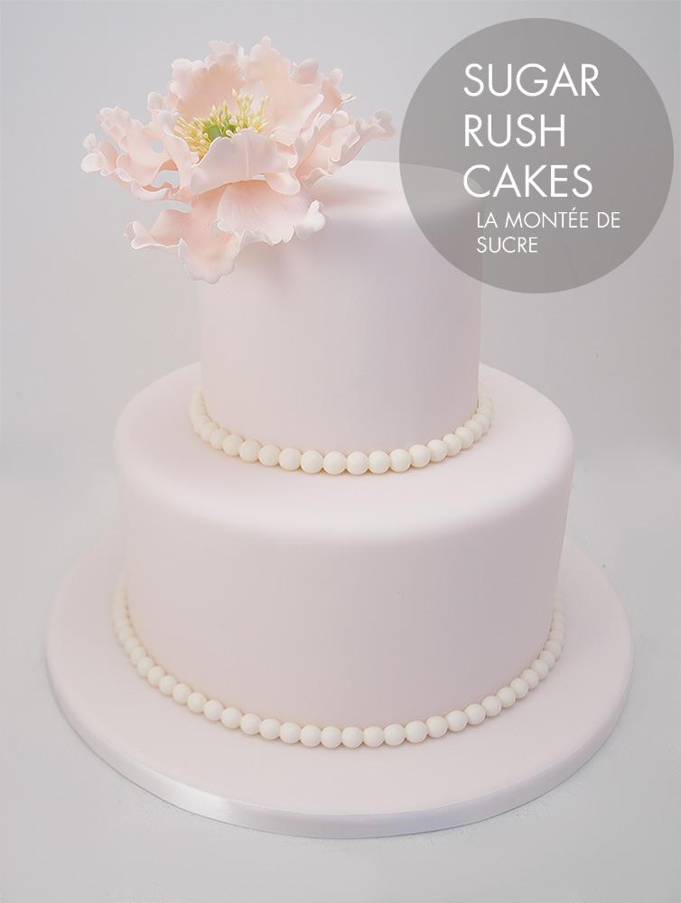 Open peonies wedding cake