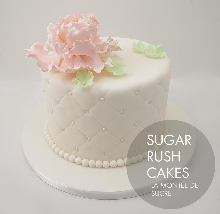 Small peonies wedding cake