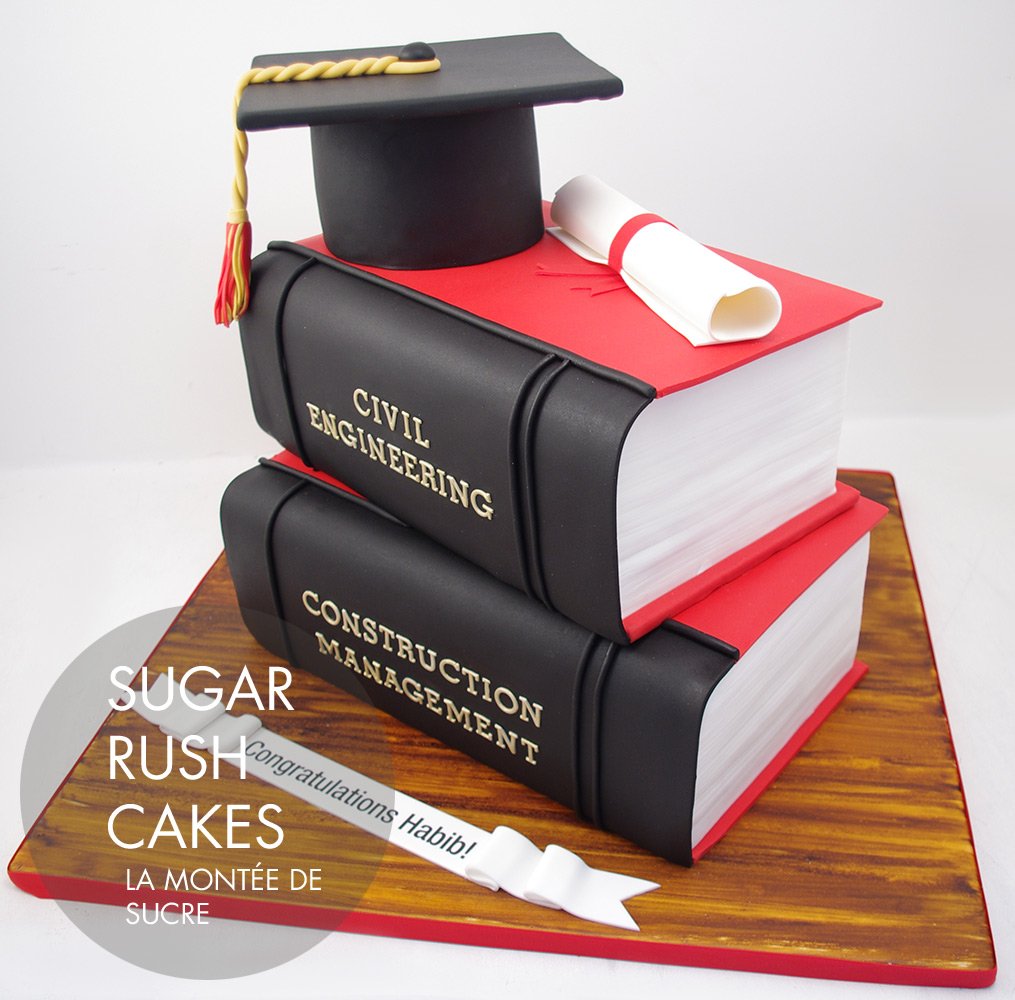 Stacked books graduation cake