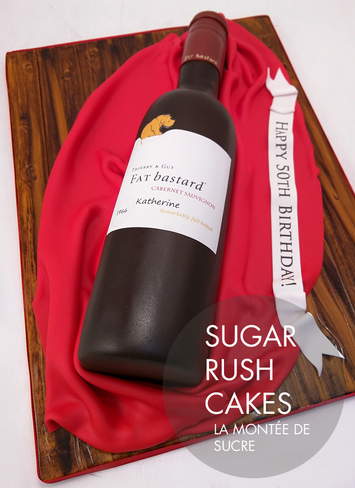 Fat Bastard wine bottle cake