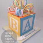Baby block cake with bow