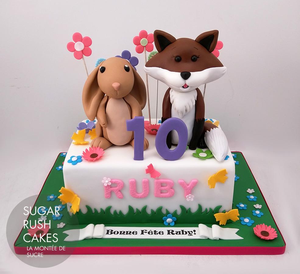 rabbit and fox cake