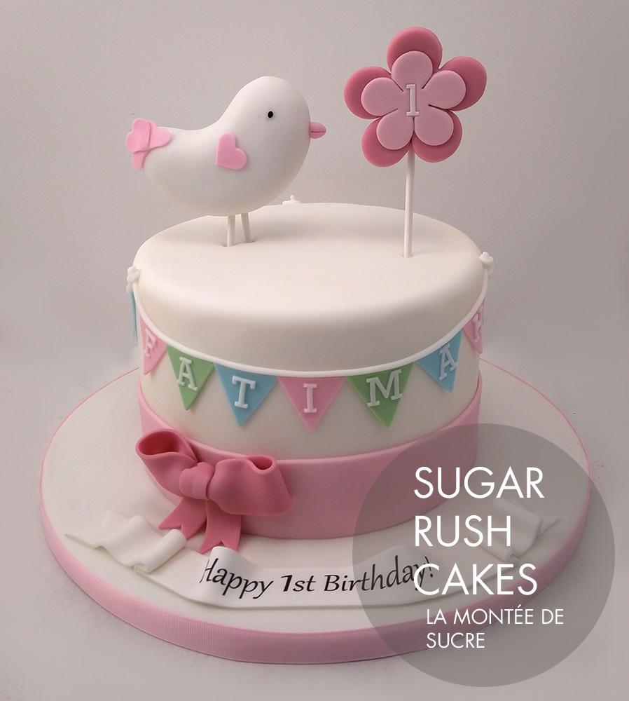 Bird and flower cake