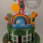 Rainbow Barney Cake