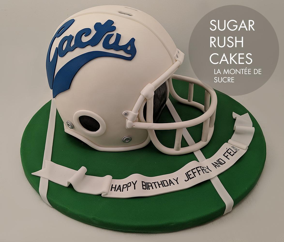 Cactus football helmet cake