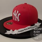 Yankees red baseball cap cake
