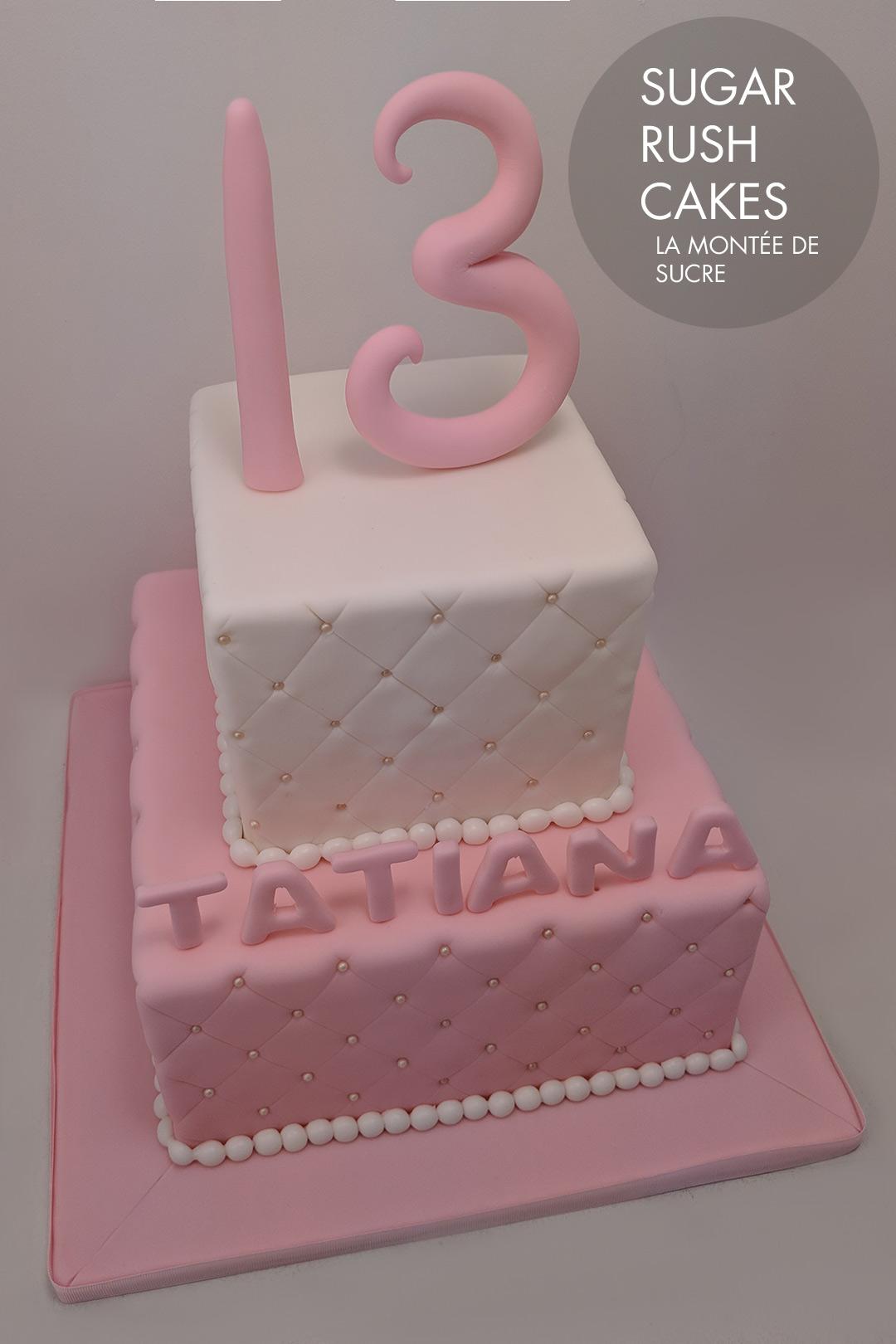 Pink 13 square cake