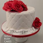 Simple diamonds and roses cake