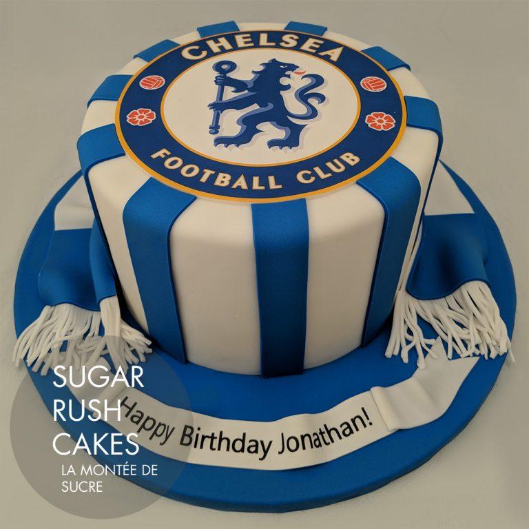 Sensational Chelsea Football Club Cake Sugar Rush Cakes Personalised Birthday Cards Veneteletsinfo